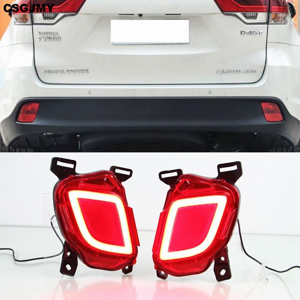 2PCS For Toyota Highlander 2014 2015 2016 2017 2018 Multi functions LED Rear Bumper Light Fog