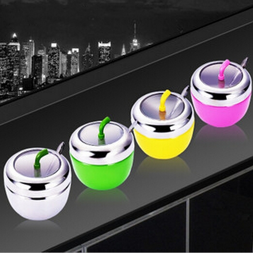 Cute Apple Stainless Steel Kitchen Herb Spice Jar Salt Sugar Pepper Shaker Storage  Container Holder Box With Spoon Cooking Tool In Salt Pigs, ...
