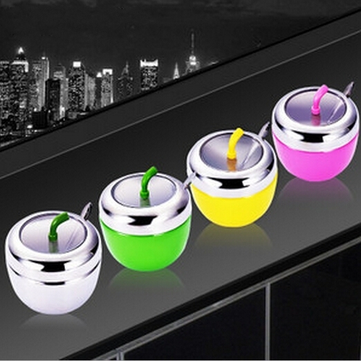 Cute Apple Stainless Steel Kitchen Herb Spice Jar Salt Sugar Pepper Shaker Storage Container Holder Box with Spoon Cooking Tool-in Salt Pigs ... & Cute Apple Stainless Steel Kitchen Herb Spice Jar Salt Sugar Pepper ...