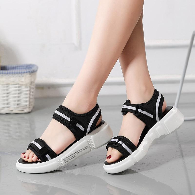 389a84c39 Plardin/2019 Женская летняя обувь на плоской подошве Тапочки на платформе  Сандалии-шлепанцы обувь