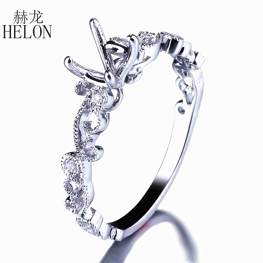 HELON 5-6mm Round Cut Semi Mount Ring Setting Solid 14K (AU585) White Gold Natural Diamonds Engagement Wedding Ring Fine Jewelry