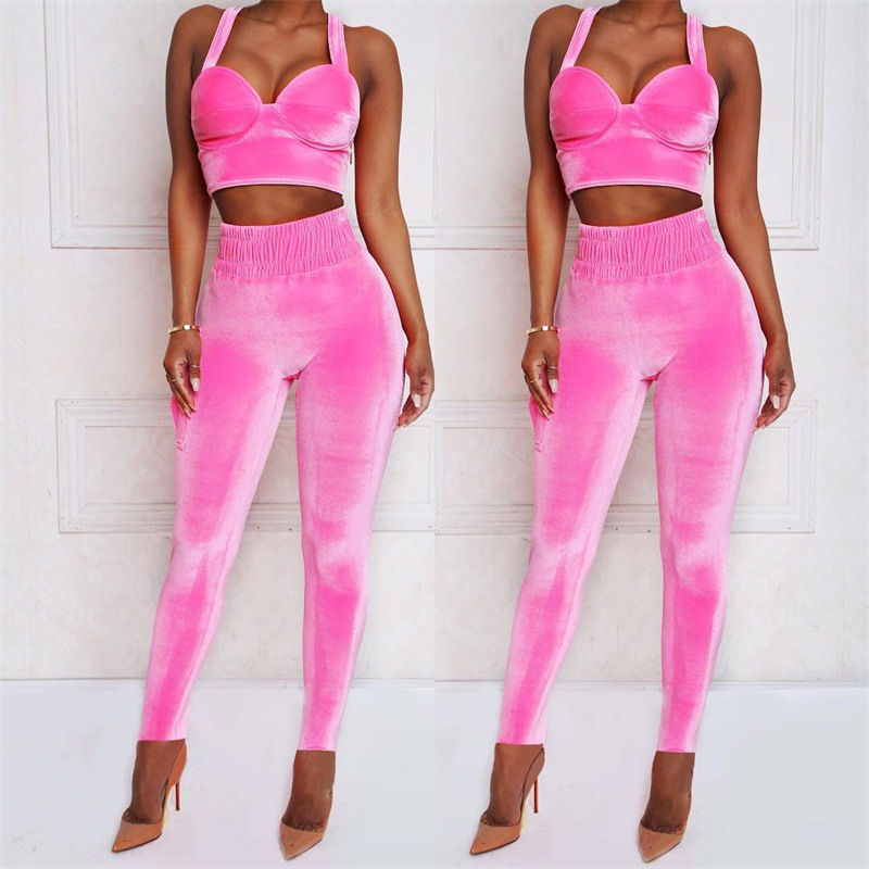 BKLD Velvet Tracksuit 2 Two Piece Trousers Set Women Sexy Crop Tank Tops+Pants Suit Fashion Female 2018 Purple Pink Club Outfits