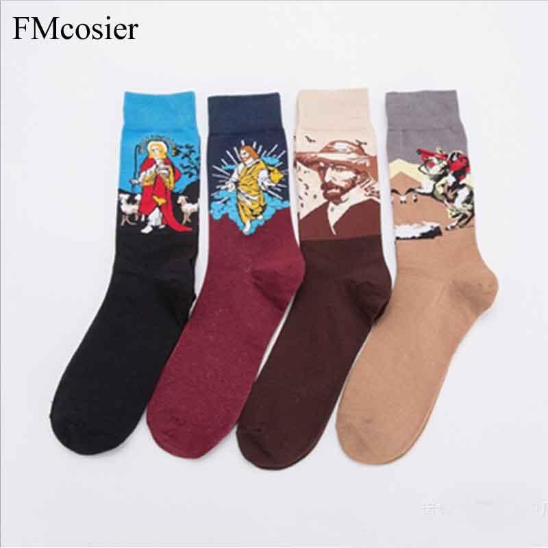 Spring Breathable Jesus Socks Mens Cotton Socks Colorful Long Oil Painting Printed Underwear Dress funny socks men sokken