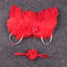 Newborn Girl Baby Kids Flowers Feather Lace Headband & Angel Wings Photo Prop #H055#