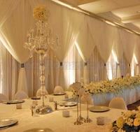10FT x 20FT three layers Silk Ivory Wedding Backdrop wedding Decoration stage curtain wedding drapes