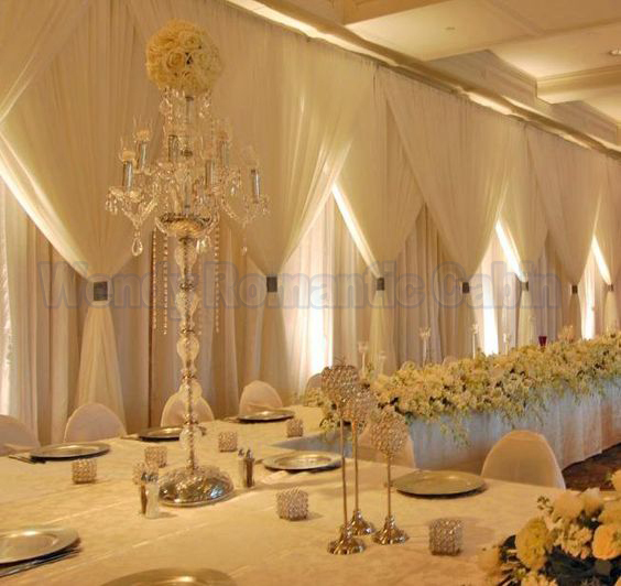 10ft X 20ft Three Layers Silk Ivory Wedding Backdrop