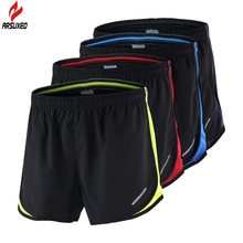 2 in 1 Arsuxeo Summer Men's Marathon Running Shorts Black Quick Dry Training Crossfit Fitness Run Sports Shorts Plus Size