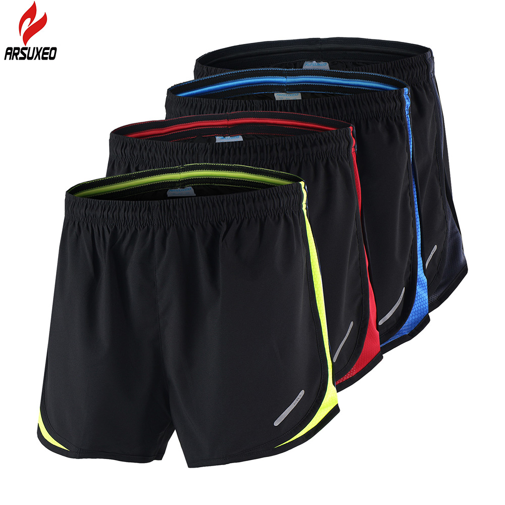 Arsuxeo 2 in 1 Summer Men's Marathon Running Shorts Black Quick Dry Training Crossfit Fitness Run Sports Shorts 3XL Size