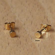 Серьги пусеты золотого цвета 1 пара размер 3 мм 316 л нержавеющая