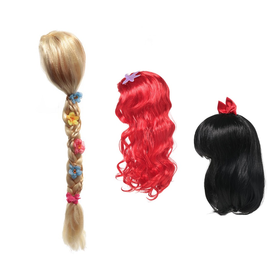 MUABABY Girls Wig Children Princess Cosplay Party Accessories Elsa Anna Aurora Belle Braid Mermaid Jasmine Moana Rapunzel Hair