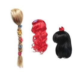 Muababy meninas peruca crianças princesa cosplay festa acessórios elsa anna aurora belle trança sereia jasmim moana rapunzel cabelo