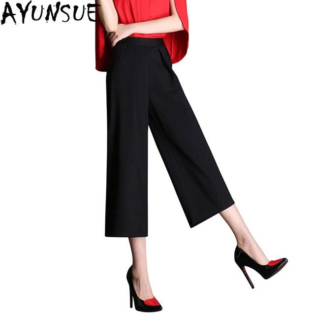 Ayunsue verano Delgado Pantalones anchos longitud del tobillo blanco y  negro de cintura alta Pantalones recta 26b010d42826