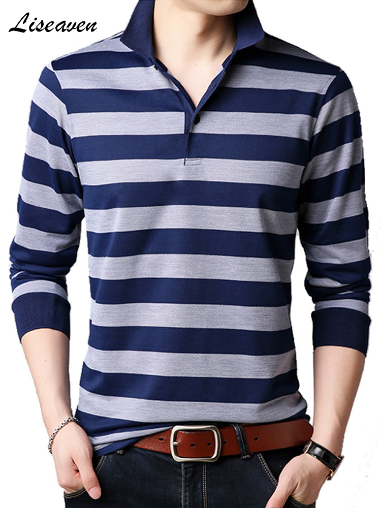 Liseaven Men Long Polo Shirt Striped Polos Male Cotton Shirt Tee Tops Brand Clothing Men Camisas