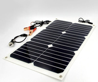 18W Solar Pane 12V Portable Power Bank Board External Battery Charging Solar Cell Board Crocodile Clips Car Charger