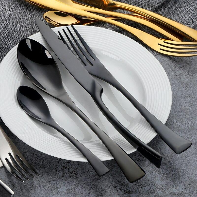 24 teile/los Schwarz Besteck Set Top Qualität Edelstahl Abendessen Messer Gabel Esslöffel Geschirr Set 24 für 6 person Geschirr-in Geschirr-Sets aus Heim und Garten bei  Gruppe 2