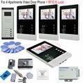 For 4 Apartments Door Intercom Video Door Phone + Rfid Electronic Lock 12V Access Control Power Supply Video Intercom Interphone
