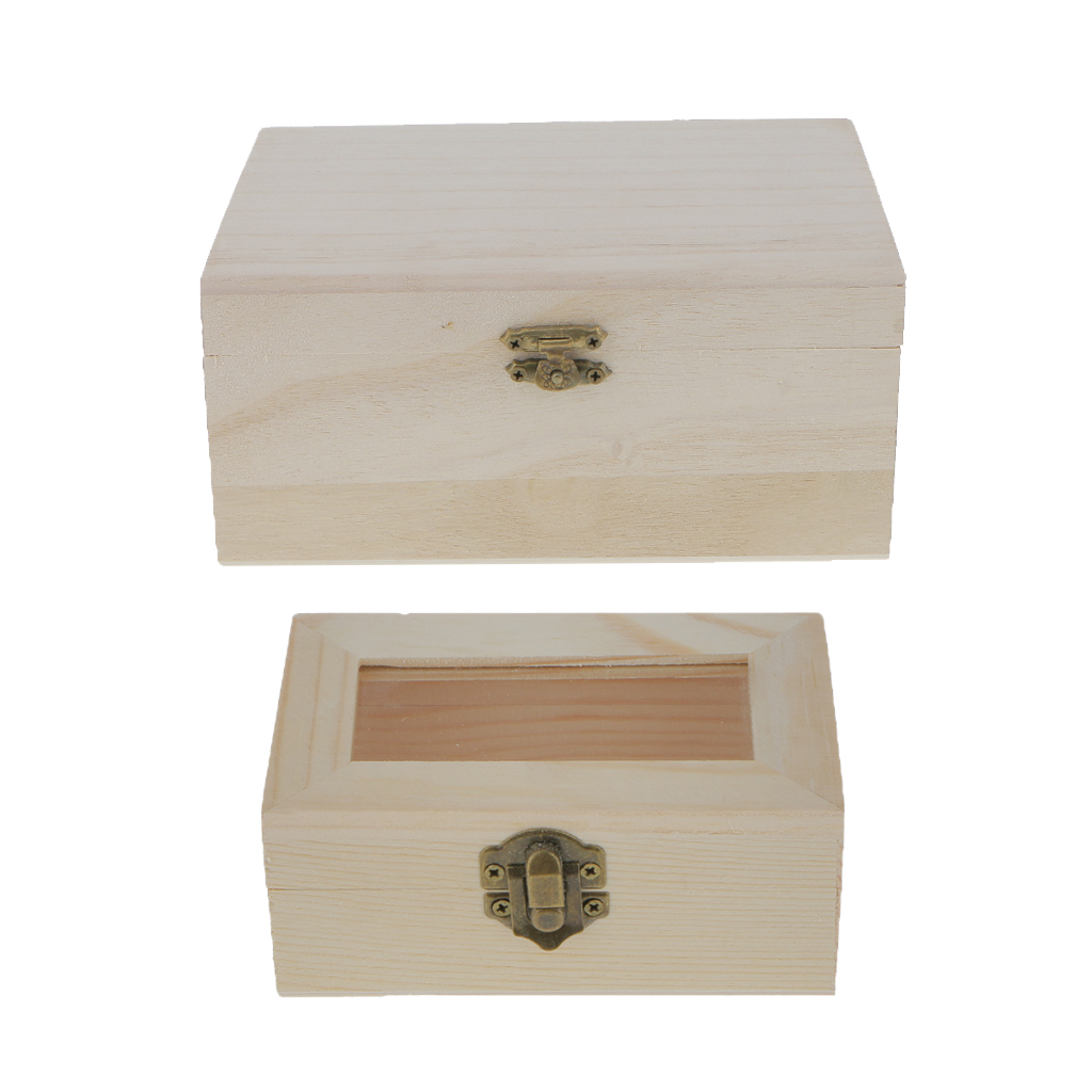 Unfinished wood craft boxes - 2 Pieces Unfinished Plain Wooden Natural Color Unpainted Jewellery Jewlry Box Keepsake Diy Findings Making Crafts