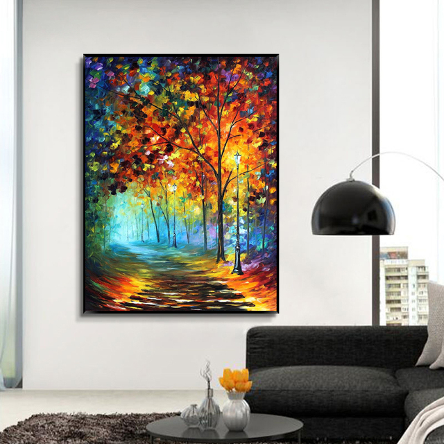 Wohnzimmer bilder leinwand  MUYA Große palettenmesser malerei leinwand vertikale acrylfarbe ...