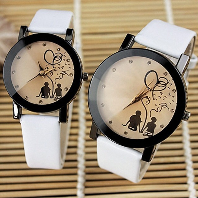 2018 New Arrival Vintage Men's Women Couple Lovers Leather Band Quartz Wrist Wat