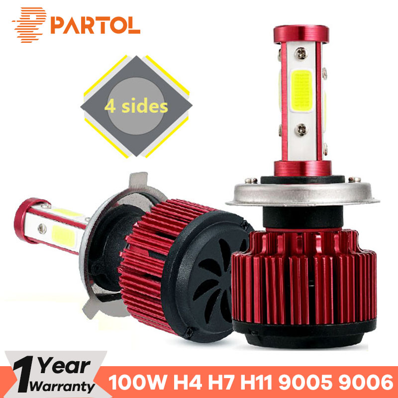 Partol 2 pcs/ensemble 100 w H4 Plomb Phare Ampoules 4 Côtés LED H7 Voiture Lumière 4 COB Puces Auto H11 LED Lampes 10000LM 9005/9006/9012/5202