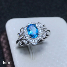 KJJEAXCMY boutique jewelry  925 sterling silver inlaid natural Swiss Blue Topaz round jewelry ring for women helon sterling silver 925 flawless 8mm round 2 4ct natural white topaz engagement wedding ring for women trendy fine jewelry