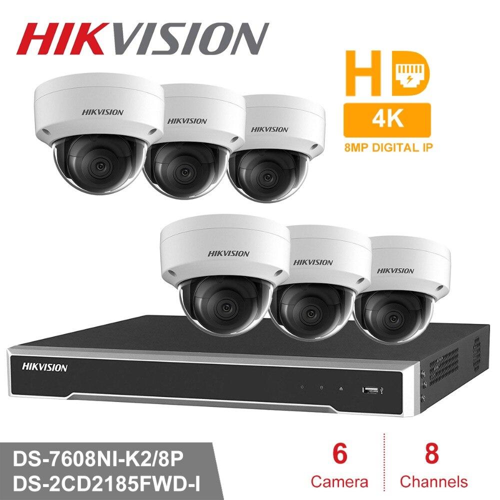 Hik 8CH HD POE NVR Kit 6 piezas 8MP DS-2CD2185FWD-I de sistema de seguridad CCTV cúpula cámara IP al aire libre de la visión nocturna IR vigilancia Conjunto