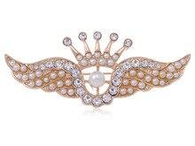 Золотой тон искусственный жемчуг бусины горный хрусталь корона ангельские крылья мода контактный брошь [ ювелирные изделия ]
