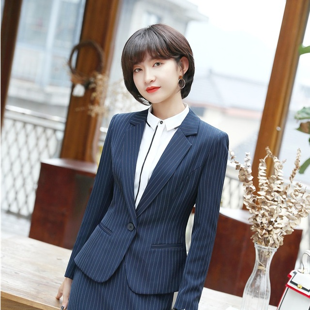 996e16586234a Spring Fall New Styles Formal Striped Blazers OL Styles Jackets Coat For Ladies  Office Outwear Female Tops Clothes Plus Size 4XL