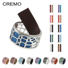 Cremo Band Rings For Women Rome Reversible Leather Statement Dainty Ring Gift Her Bijoux Comtemporary Jewelry Spinner