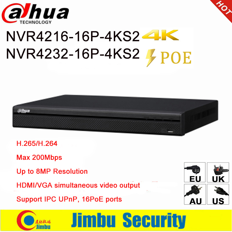 Dahua NVR 16 PoE 16CH 32CH Network Video Recorder NVR4216-16P-4KS2 NVR4232-16P-4KS2 1U ports 4K &H.265 Lite Up to 8MP Resolution 16ch poe nvr 16 32ch ip camera 4k technology support 12mp ipc p2p network video recorder ds 7716ni i4 16p ds 7732ni i4 16p