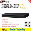 Dahua NVR 16 PoE 16CH 32CH grabador de vídeo en red NVR4216-16P-4KS2 NVR4232-16P-4KS2 1U 4 puertos K y H.265 Lite para 8MP resolución