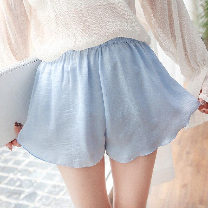 Jeseca Mid Waist Plus Size Women   Shorts   Spring Summer Thin Sexy   Shorts   Female Silk Soft Breathable Nightwear Solid Sleeping Wear