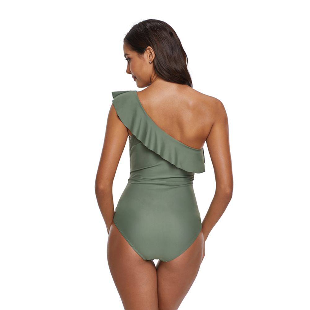 One Piece Swimsuit Plus Size Bathing Suits Push Up One Shoulder Swimsuit Women Monokini Green Ruffle Swimwear Maillot De Bain in Body Suits from Sports Entertainment