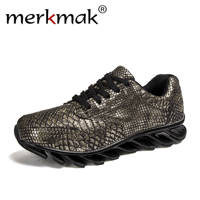 Merkmak Men Casual Shoes Luxury PU Leather Shoes Sport Walking Shoes Mens Trainers Comfortable Exercise Trendy Brand Men's Shoes