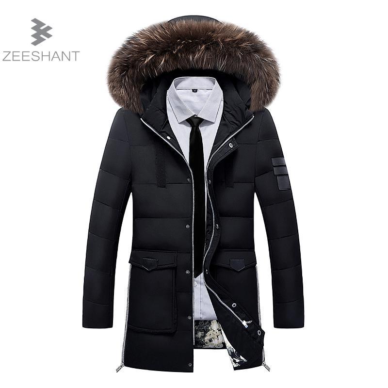 ZEESHANT Hooded Winter Jacket Men European Style Casual Slim Stand Collar Thick XXXL Mens Winter Jackets Parkas Coats Homme