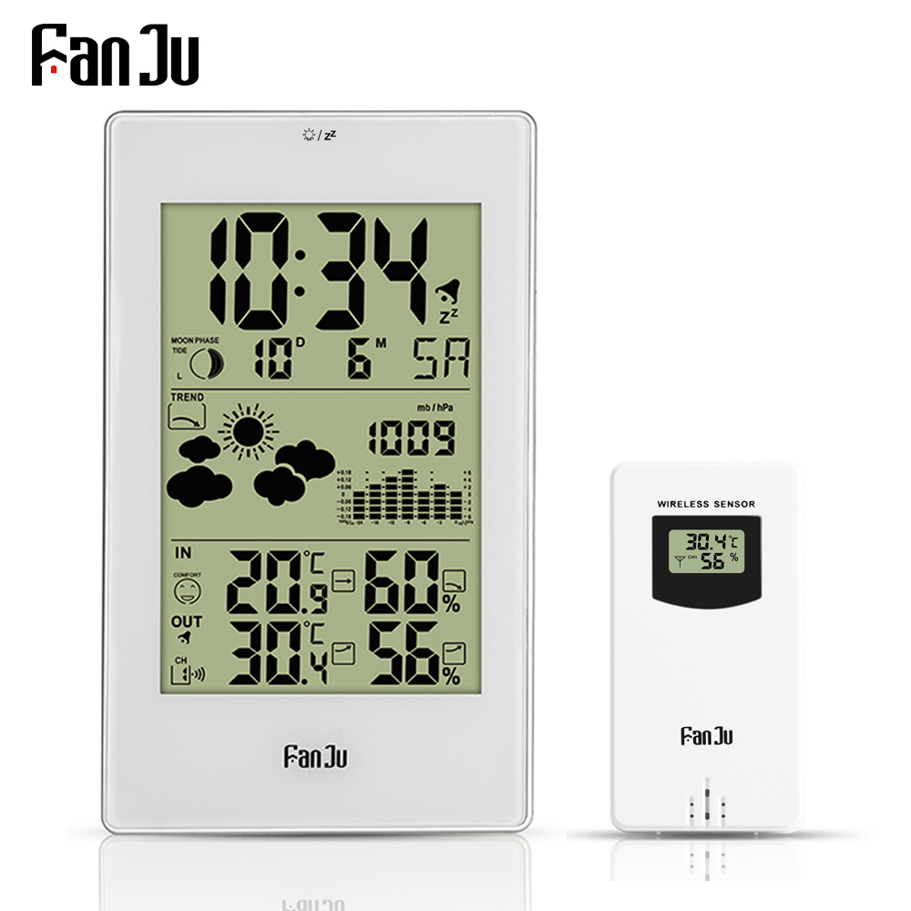 FanJu Weather Station Digital Alarm Wall Clock Temperature Humidity Wireless Outdoor Sensor Thermometer Hygrometer desktop clock
