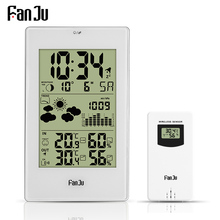 FanJu محطة الطقس الرقمية المنبه ساعة الحائط درجة الحرارة الرطوبة اللاسلكية في الهواء الطلق الاستشعار ميزان الحرارة الرطوبة ساعة سطح المكتب