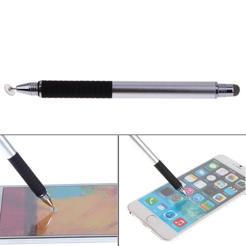 Металл 2 in1 точность емкостный Сенсорный экран ручка для iphone iPad Nexus 7 Galaxy Планшеты Kindle Fire HDX (серебро) ...