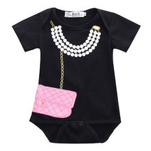 2016 NEW Arrive Infant Newborn Girls Necklace Purse Outfits Romper One-pieces Clothes