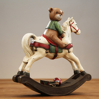 American country Resin Bear Riding Rocking Horse Figurines with a hand painted Animal Home Decoration Crafts