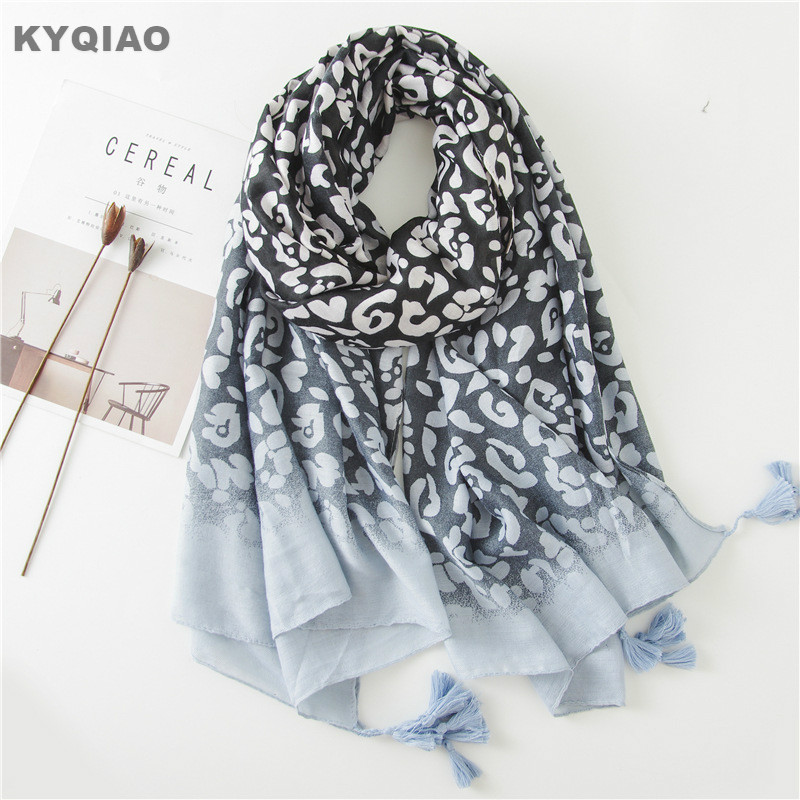 KYQIAO women leopard   scarf   female autumn spring Spain style fashion vintage long blue leopard print neck   scarf     wrap