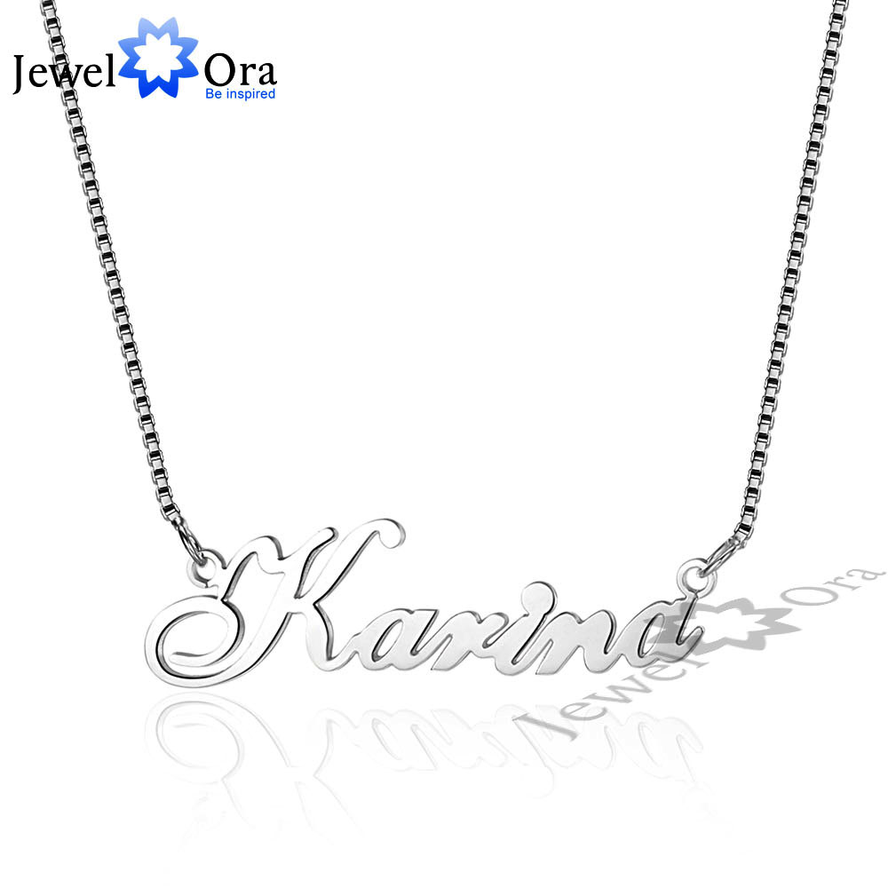 Russia Nameplate Necklace Personalized 925 Sterling Silver Name Necklace Christmas Jewelry Gift For Women (JewelOra NE101548) rainmarch silver personalized name choker necklace 925 sterling silver necklace vintage customized women jewelry christmas gift