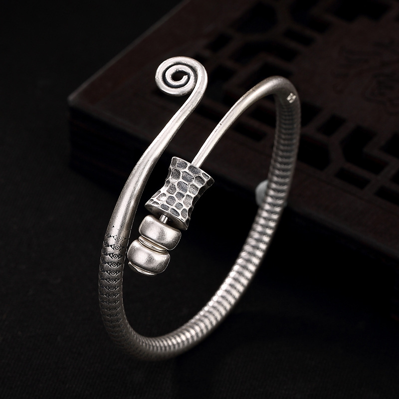 2018 Time-limited New Women No Bangle S990 Solid Personality Transfer Pure Antique Opening Lady Bracelet Gift Wholesale Agent