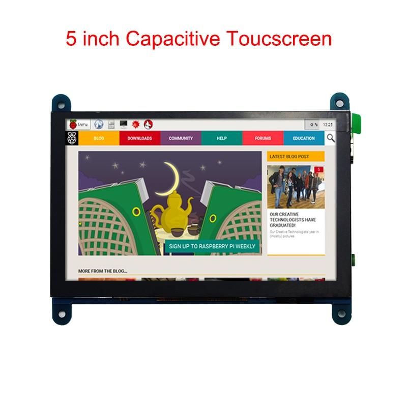 Raspberry Pi 3 Model B+ LCD Screen Touchscreen 5 inch Capacitive 800*480 Display Module for Raspberry Pi 3 Model B+/3B 3 5 inch touch screen tft lcd 320 480 designed for raspberry pi rpi 2