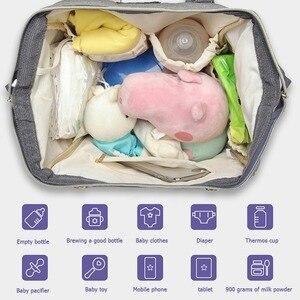 Image 3 - حقيبة حفاضات من LEQUEEN مزودة بواجهة USB ذات سعة كبيرة مضادة للماء حقيبة ظهر للأمهات مناسبة للسفر والمتاجر والحفاظات منظمة للحفاضات
