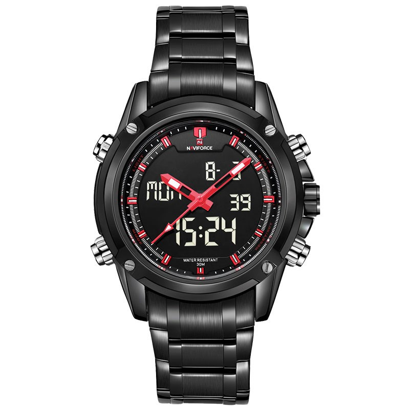 Digital Watch Men Waterproof Casual Watch Stainless Steel Quartz Wristwatch Relojes Deportivos Zegarek NAVIFORCE Reloj Deportivo relojes full stainless steel men s sprot watch black and white face vx42 movement