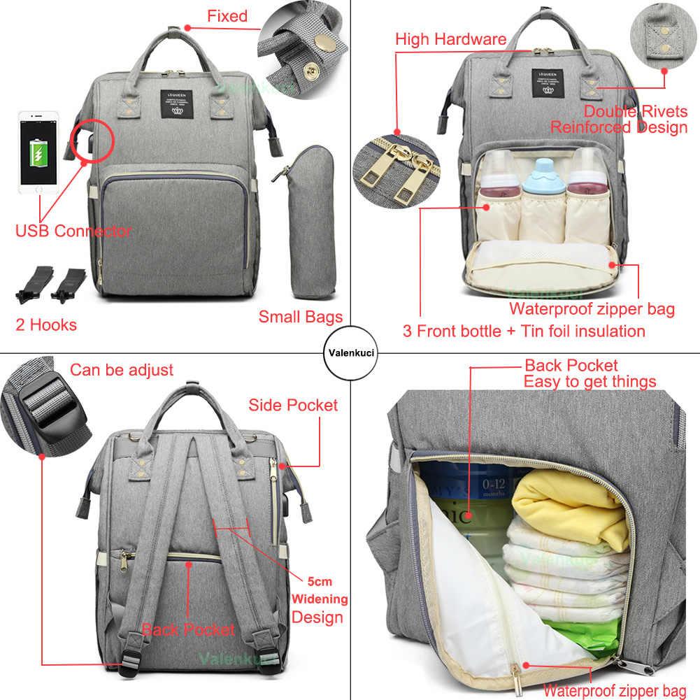 Lequeen Tas Popok Bayi dengan Antarmuka USB Besar Tahan Air Tas Popok Kit Mummy Maternity Ransel Perjalanan Nursing Bag dengan Hook