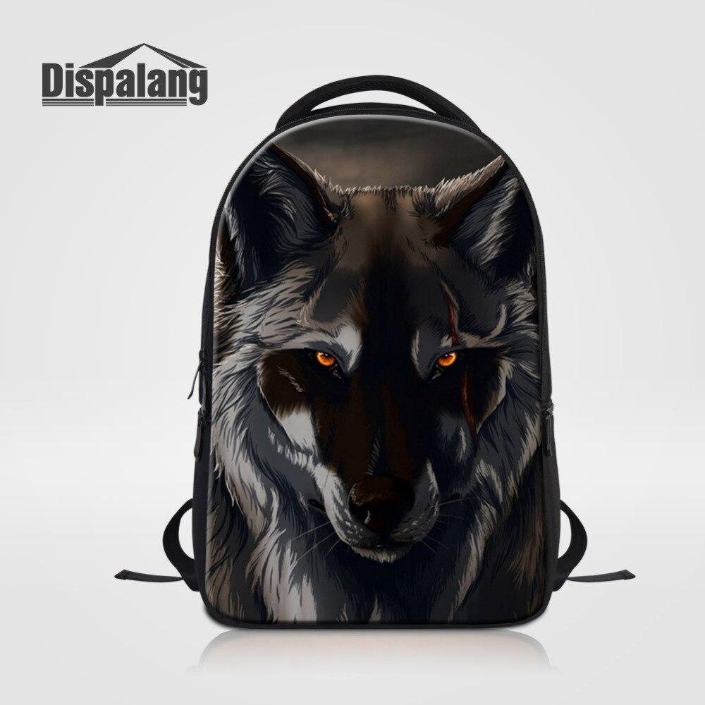 Dispalang hommes femmes sacs à dos loup animaux impression sacs d'école pour les étudiants de collège grande capacité sac à dos pour ordinateur portable sac à dos de voyage