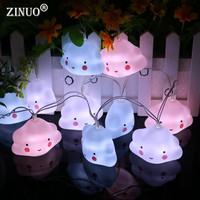 ZINUOa 10PCS Cloud LED String Light Cute Smile Face Cloud Luminaria For Baby Bedroom New Year Party Holiday Wedding Decoratation