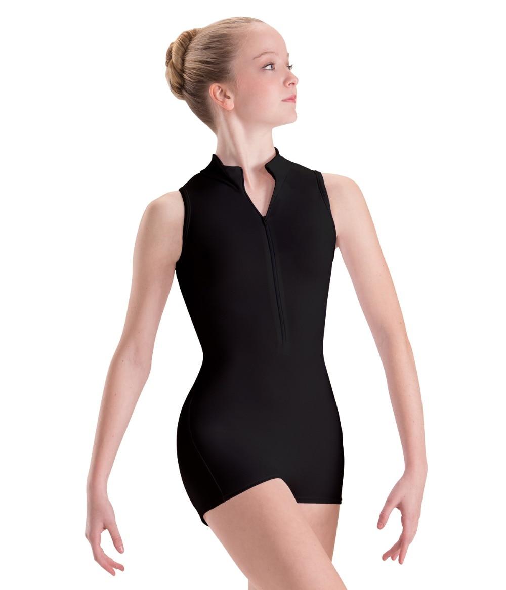 Spandex Lycra Child Zip Front Mock-T Biketard Turtle Neck Gymnastics Unitards For Girls Short Sleeveless Ballet Dance Leotard